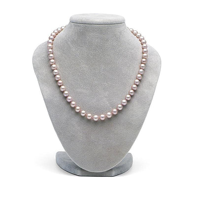 Lavender Elite Collection Pearl Necklace, 7.5-8.0mm on Necklace Bust