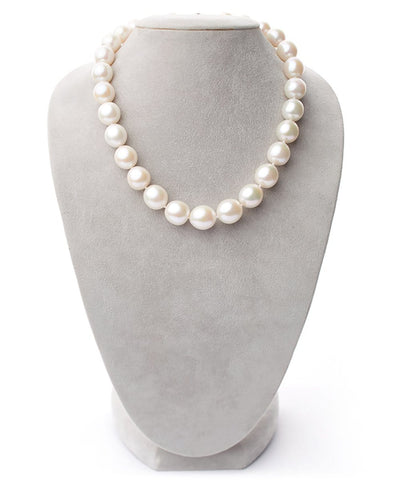 "Limited Edition White Freshwater Smooth Drop ""Edison"" Pearl Necklace, 11.0-15.0mm Approx., 18-Inches on Necklace Bust"