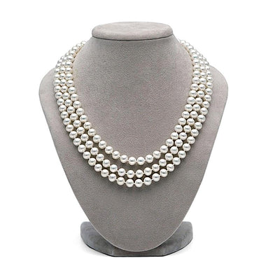 White Freshwater 17/18/19-Inch Triple Strand Pearl Necklace, 6.5-7.0mm on Necklace Bust