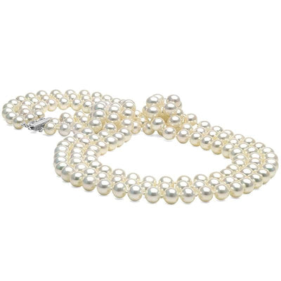 White Freshwater 17/18/19-Inch Triple Strand Pearl Necklace, 6.5-7.0mm, 14K White Gold