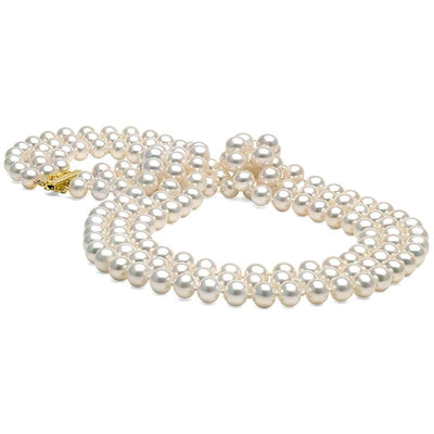 White Freshwater 17/18/19-Inch Triple Strand Pearl Necklace, 6.5-7.0mm, 14K Yellow Gold