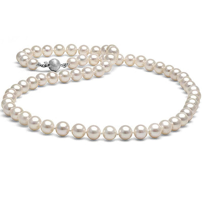 White Elite Collection Pearl Necklace, 6.5-7.0mm, 14K White Gold
