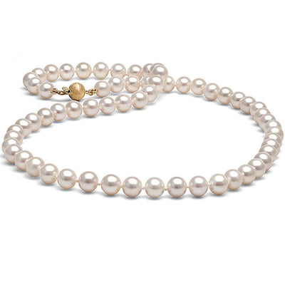 White Elite Collection Pearl Necklace, 6.5-7.0mm, 14K Yellow Gold