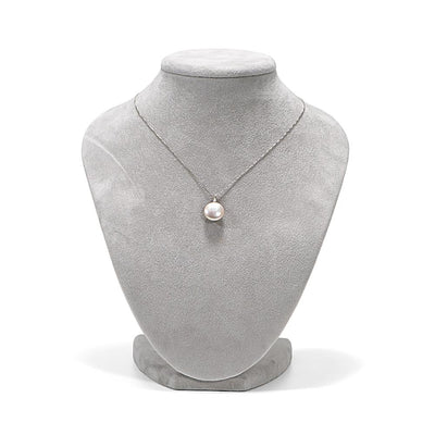 White, Pink or Lavender Coin Pearl and Diamond Sand Dollar Pendant, 12.0-13.0mm on Necklace Bust