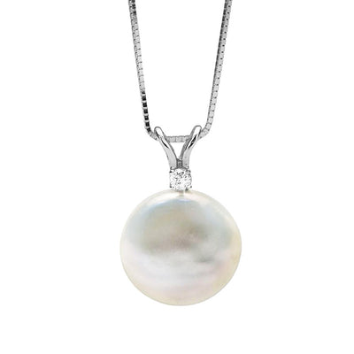 White, Pink or Lavender Coin Pearl and Diamond Sand Dollar Pendant, 12.0-13.0mm, 14K Yellow Gold