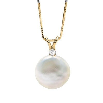 White, Pink or Lavender Coin Pearl and Diamond Sand Dollar Pendant, 12.0-13.0mm, 14K White Gold