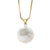 White, Pink or Lavender Coin Pearl and Diamond Sand Dollar Pendant