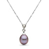 Metallic 'Wild Orchid' Lavender Freshwater Drop Pearl and Diamond Infinity  Pendant, 10.5-11.0mm