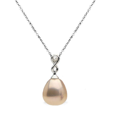 Metallic Peach Freshwater Drop Pearl and Diamond Infinity Pendant, 10.5-11.0mm