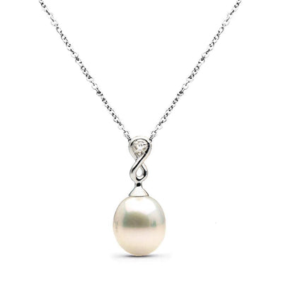 Metallic White Freshwater Drop Pearl and Diamond Infinity Pendant, 10.5-11.0mm