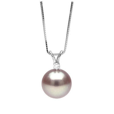 Lavender Freshwater Pearl and Diamond Radiance Pendant, 9.5-10.0mm, 14K White Gold Version