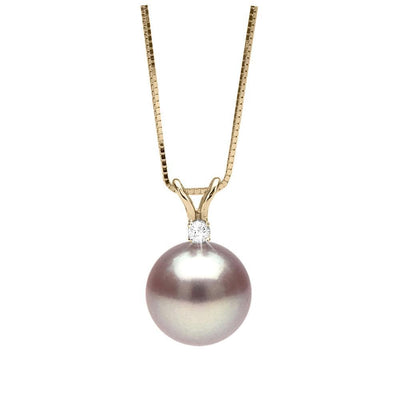 Lavender Freshwater Pearl and Diamond Radiance Pendant, 9.5-10.0mm, 14K Yellow Gold Version