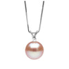 Pink Freshwater Pearl and Diamond Radiance Pendant, 9.5-10.0mm, 14K White Gold Version