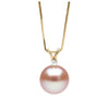Pink Freshwater Pearl and Diamond Radiance Pendant, 9.5-10.0mm, 14K Yellow Gold Version