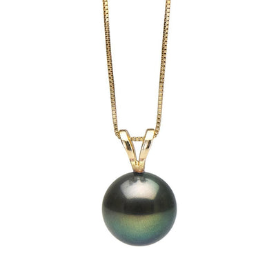 Black Freshwater Classic Pearl Pendant, 7.0-10.0mm, 14K Yellow Gold