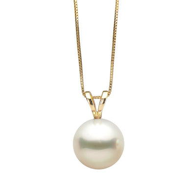 White Freshwater Classic Pearl Pendant, 7.0-10.0mm, 14K Yellow Gold