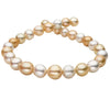 White and Golden South Sea Multi-Color Baroque Pearl Necklace, 18-Inch, 12.03-15.76mm, AA+/AAA Quality