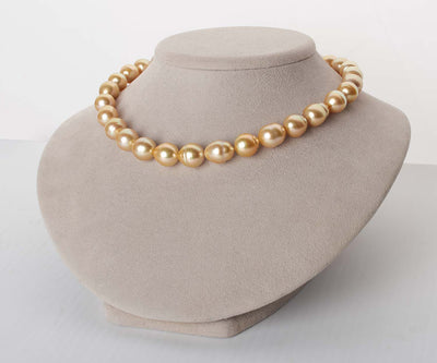 18K Deep Golden South Sea Baroque Pearl Necklace, 18-Inch, 12.0-13.4mm, AA+/AAA Quality