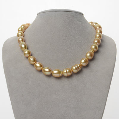 14K-18K Medium-Deep Golden South Sea Baroque Pearl Necklace, 18-Inch, 10.0-12.5mm, AA+/AAA Quality