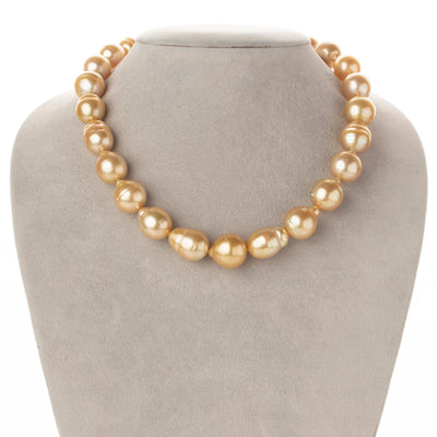 14K-18K Medium-Deep Golden South Sea Baroque Pearl Necklace, 18-Inch, 12.3-14.8mm, AA+ Quality
