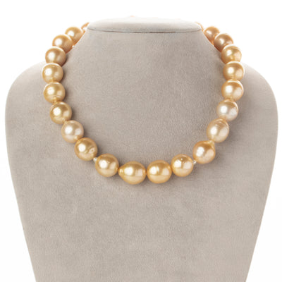 14K-18K Medium-Deep Golden South Sea Baroque Pearl Necklace, 18-Inch, 13.9-15.0mm, AA+ Quality