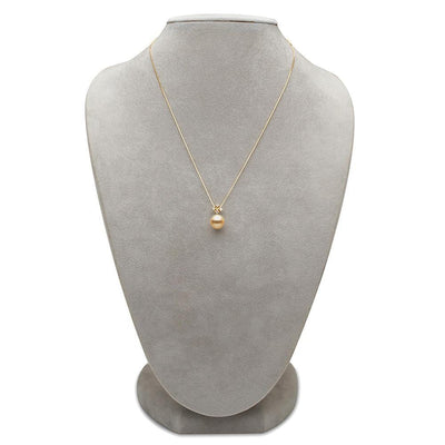 Golden South Sea Pearl and Diamond Elsa Pendant, on Necklace Bust