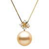 Golden South Sea Pearl and Diamond Elsa Pendant, Sizes: 10.0-14.0mm