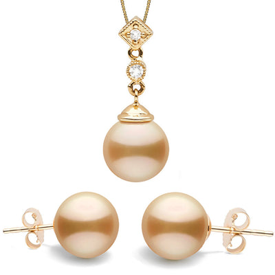 Golden South Sea Pearl and Diamond Royale Pendant and Stud Earring Set, 14K Gold