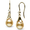Golden South Sea Drop-Shape Pearl and Diamond Lily Dangle Earrings, 14K Yellow Gold