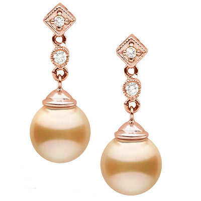 Golden South Sea Pearl and Diamond Royale Dangle Earrings