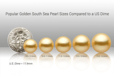 Popular Golden South Sea Pearl Sizes vs US Dime