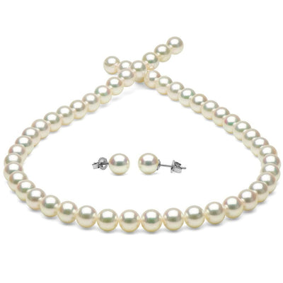 White Hanadama Akoya Pearl Jewelry Set, 7.0-7.5mm, 14K White Gold