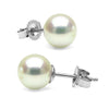Untreated, Natural Color White Hanadama Akoya Pearl Earrings, 7.0-7.5mm, 14K White Gold