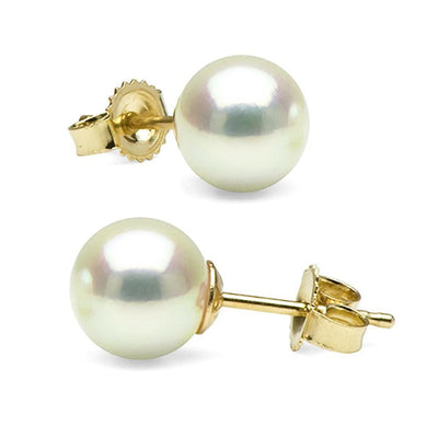 Untreated, Natural Color White Hanadama Akoya Pearl Earrings, 7.0-7.5mm, 14K Yellow Gold