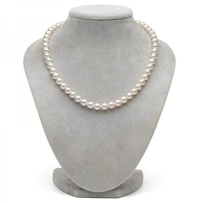 White Hanadama Akoya Pearl Necklace, 7.5-8.0mm on Necklace Bust