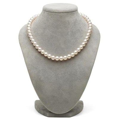 White Hanadama Akoya Pearl Necklace, 8.0-8.5mm on Necklace Bust