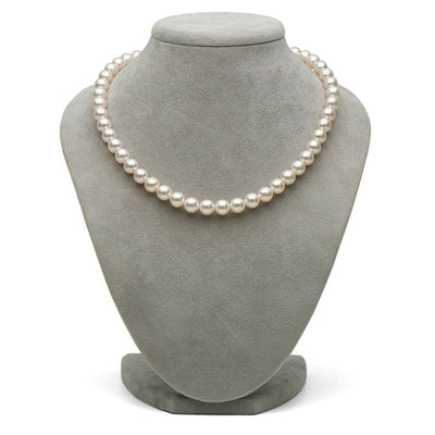 White Hanadama Akoya Pearl Necklace, 8.5-9.0mm on Bust