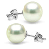 Untreated, Natural Color White Hanadama Akoya Pearl Earrings, 9.0-9.5mm, 14K White Gold