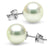Untreated, Natural Color White Hanadama Akoya Pearl Earrings, 9.0-9.5mm