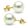 Untreated, Natural Color White Hanadama Akoya Pearl Earrings, 9.0-9.5mm, 14K Yellow Gold