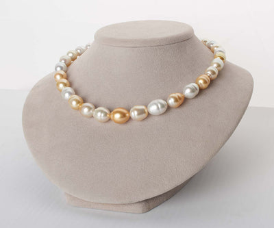 White and Golden South Sea Multi-Color Baroque Pearl Necklace, 18-Inch, 10.3-14.6mm, AA+/AAA Quality