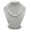 Natural Color, Untreated White Hanadama Akoya Pearl Necklace, 7.5-8.0mm