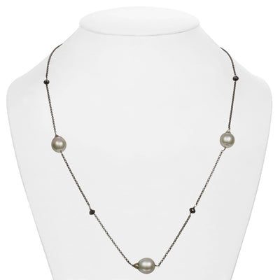 Tahitian Baroque Pearl and Black Diamond Tin Cup Necklace, 10.0-11.0mm