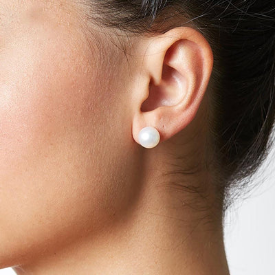 9.5-10.0mm Pearl Stud Earring Size as Worn on Model