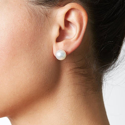 10.5-11.0mm Pearl Stud Earring Size, as Shown on Model