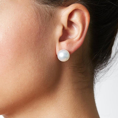 12.0-13.0mm Pearl Stud Earring Size as Shown on Model