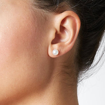 6.0-7.0mm Pearl Earring Studs on Model