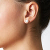 7.5-8.0mm Pearl Stud Earring Size as Worn on Model
