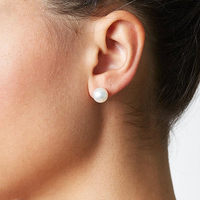 8.0-9.0mm Pearl Stud Earrings Shown on Model