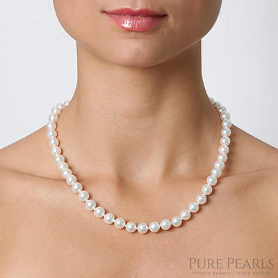 Akoya Pearl Necklace 8.0-8.5mm, 18-Inches as Worn on Model